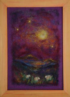 Wool painting  moonlight on the pasture large by AdiCeramicsAndArt, $60.00