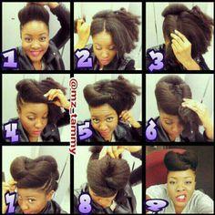 Natural hair Pompadour(sp?)
