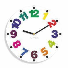 Okrúhle hodiny pre deti s veľkými číslicami Clock, Wall, Home Decor, Watch, Decoration Home, Room Decor, Clocks, Walls, Home Interior Design