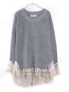 Lace Hem Stitching Pullover Grey pictures