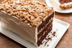 German Chocolate Cake - Looks divine. I especially love how you make it in a 9x13 then cut it into 3 sections to make a smaller layered cake!