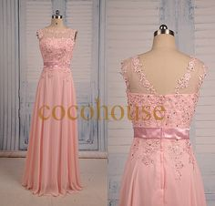 New  Pink Lace Applique Beaded Long Prom Dresses Bridesmaid Dresses  Homecoming Dresses Evening Dresses Wedding Party Dresses Formal Dresses