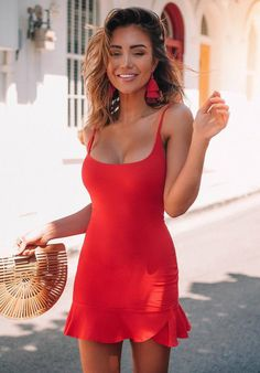 summer outfit red dress and bag