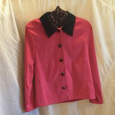 Sag Harbor Dress Blazer Sag Harbor Dress, size 8, fuschia with black collar and buttons, buttons down front, lightly padded shoulder pads, sewn in black with fuschia floral print scarf (scarf sewing is coming undone but is an easy fix), long sleeves, Blazer is 97%polyester  3% spandex  (feels like microfiber) scarf is 100% polyester. Sag Harbor Jackets & Coats Blazers