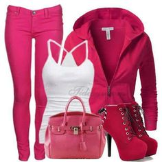 Cute hot pink wear it when going out for a cup a coffee or just going out for fun . Pink Outfits, Classy Outfits, Pretty Outfits, Cute Outfits, Boot Outfits, Disney Outfits, Jean Outfits, Stylish Outfits, Pink Fashion