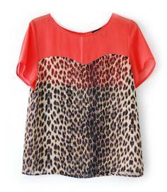 Topshop colour block leopard print top SS11