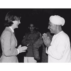 """""""From Life Magazine: """"US First Lady Jacqueline Kennedy greets an Indian gentleman."""" 1962"""""""