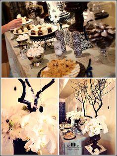 Half Baked – The Cake Blog » Black & White Dessert Bar -- love the black branch!