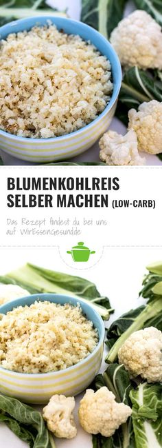 Blumenkohlreis (Low-Carb-Reis) selber machen – WirEssenGesund – Health and wellness: What comes naturally Low Carb Veggie, Low Carb Rice, Rice Recipes For Dinner, Evening Meals, Cauliflower Rice, Side Dishes, Stuffed Peppers, Eat, Cooking
