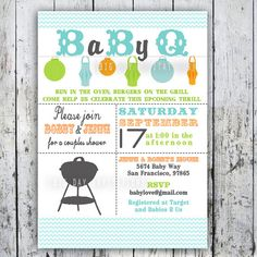 Baby Shower Invitation, Baby Q, Baby BBQ -- Digital Printable Custom Invites. $12.49, via Etsy.