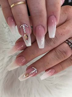 Find here the cutest ideas of white nail arts and designs to wear right now. We have rounded up these special designs for all those ladies who love to wear some kind of rare nail ideas. French Nails Glitter, Cute Acrylic Nails, Acrylic Nail Designs, Glitter Nails, Nail Art Designs, Gel Nails, Round Nail Designs, Ombre Nail Designs, White Coffin Nails