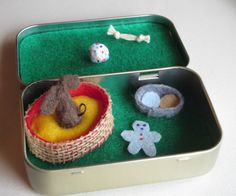 Fluffy dog miniature felt plush in Altoid tin play por wishwithme