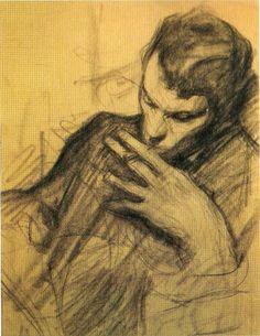 theformofbeauty:  Leonid Pasternak - Portrait of son Boris, c. 1917.