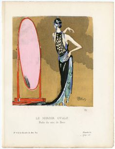 Women 1921, Plate 060. Fashion plates, 1790-1929. The Costume Institute Fashion Plates. The Metropolitan Museum of Art, New York. Gift of Sally Victor (b17509853) | This is a Parisian evening dress from 1921. #fashion