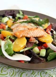 Mediterranean Salad with Grilled Salmon and Dijon-Dill Vinaigrette