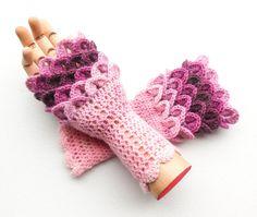 Crocodile Stitch Fingerless Gloves  Dragon Scale by ArtistBeeBee