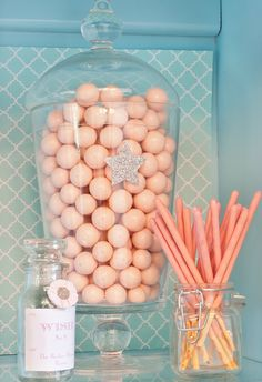 Make A Wish, Star Birthday Party - Kara's Party Ideas - The Place for All Things Party (Light Coral candies)