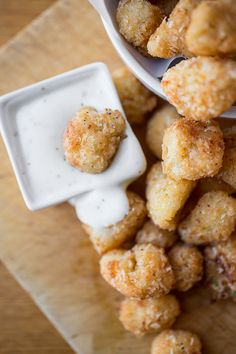 "Crispy Parmesan-Cauliflower ""Poppers"" with Creamy Buttermilk Ranch Dipping Sauce Recipes ~ Delicious... Says: These tasty little Crispy Parmesan-Cauliflower ""Poppers"" just may make veggie-fans of your kids!"