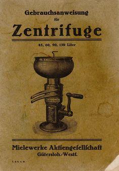 Gebrauchsanweisung für Zentrifuge der Mielewerke Vorderseite [Museum Wolmirstedt]
