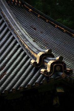 Temple roof details.  Japan