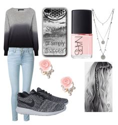 """""""Pink N' Grey"""" by i-liebe-anime ❤ liked on Polyvore featuring 360 Sweater, Frame Denim, NIKE, Vince Camuto and NARS Cosmetics"""