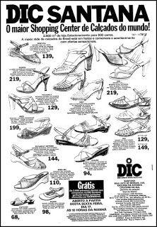 Anúncio Shopping Center de Calçados DIC - 1978