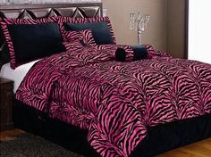 Twin 5 Piece Bedding Soft Short Fur Comforter Set Black / Hot Pink Zebra Bed-in-a-bag