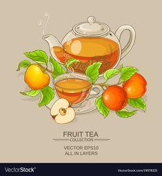 Buy Cup of Apple Tea and Teapot by on GraphicRiver. cup of apple tea and teapot on color background Apple Tea, Fruit Tea, Flower Tea, Tea Art, Coffee Art, Food Illustrations, Desert Recipes, Portfolio Design, Afternoon Tea