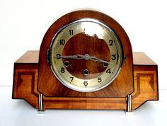 Art Deco Musical Westminster Walnut Inlaid Clock