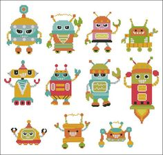 I Robot  Naughty Bots  Minis Cross Stitch PDF Chart by PinoyStitch, $7.50