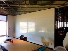 Write more with our 5 x 15 ft stick on whiteboard sheet or just use the paint all over your wall....Write here, Write now.