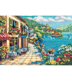 Dimensions Gold Collection Petite Overlook Cafe Counted Cross Stitch Kit