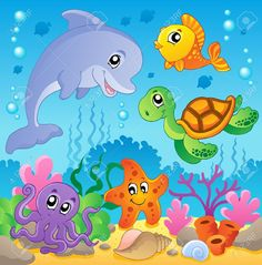 Image With Undersea Theme 2 – Vector Illustration Royalty Free Cliparts, Vectors, And Stock Illustration. Art Drawings For Kids, Drawing For Kids, Easy Drawings, Animal Drawings, Art For Kids, Cartoon Drawings, Cartoon Sea Animals, Cartoon Fish, Decoration Creche