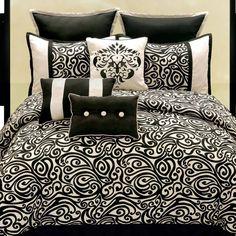 black and white bedding | Hallmart Collectibles Carrington Black and White Comforter Set