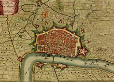 Old map of Antwerp, Belgium