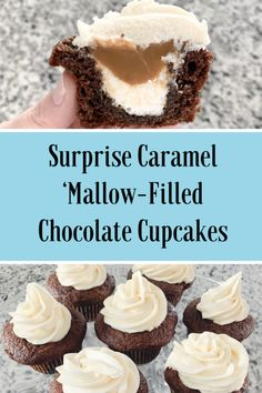 Surprise Caramel 'Mallow Filled Chocolate Cupcakes