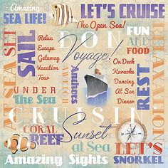 Karen Foster BON VOYAGE COLLAGE 12x12 Scrapbooking (2) Papers CRUISE
