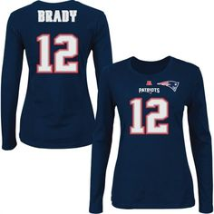 Tom Brady New England Patriots Womens Name and Number Long Sleeve T-Shirt