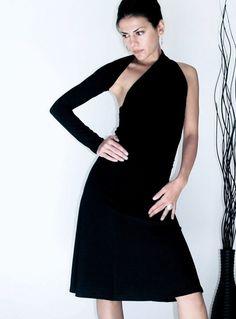 Schwarzes One shoulder Kleid, A-Linie // black A-line dress, one shoulder by marcellamoda via DaWanda.com