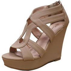 363158b601 Cambridge Select Women's Strappy Open Toe Platform Wedge Heel Sandal (6.5  B(M)