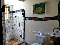 Hundertwasser-Quixote Winery, Napa,CA Mold In Bathroom, Mosaic Bathroom, Mosaic Wall, Mosaic Glass, Mosaic Tiles, Mosaics, Bathrooms, Shower Bathroom, Friedensreich Hundertwasser