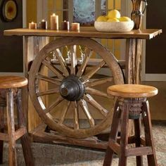 Wagon Wheel Bar Table Western Home Decor