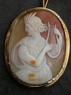 French antique 18 solid gold Huge Mythological Hand-Carved Shell Cameo Pendant Brooch