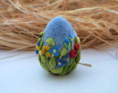 Egg Easter Decoration Needle Felted Eggs Easter Gift for her Easter Ornament Royal Blue Flowers