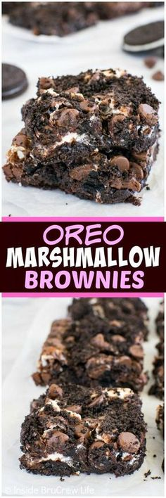 Oreo Marshmallow Brownies - swirls of cookies and marshmallows add a sweet twist to these brownies. Easily adaptable to be Gluten Free with a GF box brownie mix and GF chocolate sandwich cookies Best Dessert Recipes, Desert Recipes, Fun Desserts, Sweet Recipes, Delicious Desserts, Yummy Food, Awesome Desserts, Halloween Desserts, Oreo Torta