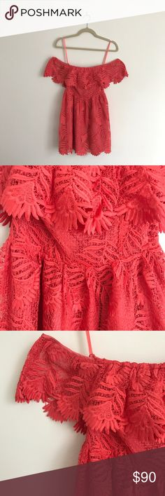 Lovers + Friends Dream Vacay Dress - Size XS Beautiful coral laced dress with off the shoulder detail. Only worn once. Excellent condition. Lovers + Friends Dresses Mini
