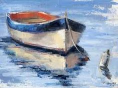 Colorful Row Boat by Christina Dowdy. oil and wax on c Pinterest Pinturas, Sailboat Painting, Boat Art, Watercolor Paintings, Watercolors, Art Drawings, Landscape Drawings, Art Projects, Canvas Art