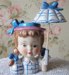 Vintage Head Vase  Little Girl  Pigtails  With by WhereHaveYouBeen, $35.00