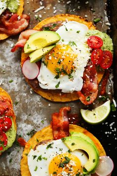 These Bacon Breakfast Tostadas are perfect for serving a group at brunch because everyone can customize their toppings & the style of eggs that they prefer.   platingsandpairings.com