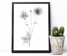 Wall Art Print, printable poster, instant download, poppy, original watercolor painting, nature, botanical, black and white, flowers by not2green on Etsy